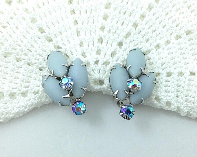 Signed Coro Rhinestone Earrings, Blue Rhinestone Earrings with Aurora Borealis Rhinestones, Signed Coro Earrings. Light Blue Earrings.