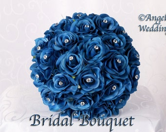 DANIELA BLUE Wedding Bouquet Package Bridal Bridesmaid Groom Boutonnieres Corsages Keepsake Bouquets Roses Silk Floral Custom Flowers
