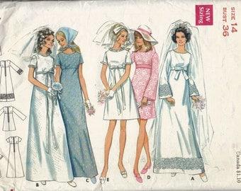 Vintage Wedding Dress Pattern, Empire Waist Bridal Gown Pattern, 1960s Bridesmaid Dress Pattern, A Line Dress, Size 14, Bust 36 Inches