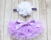 Baby Girl Ruffle Bottom Tutu Bloomer & Headband Set in Lavender - Newborn Photo Set - Cake Smash - Diaper Cover - Baby Gift - First Birthday