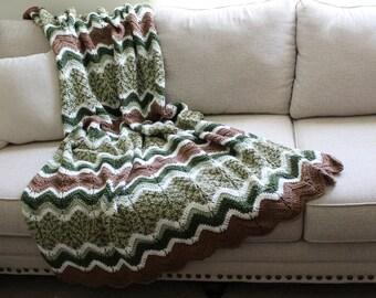 Afghan - Handmade Crochet Ripple Blanket - Green, Brown, White with Green Multi