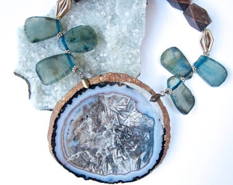 Large Blue Circular Agate with Dragon Vein Agates and Mix Wood beads- STATEMENT Necklace