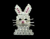 Rhinestone Rabbit Brooch, 3D Bunny Pin, Easter Bunny Pin, Easter Gift For Young Girl, Gift for Tween, Gift for Rabbit Lover