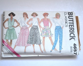 Vintage 1987  Pattern Butterick 4657 Misses  skirt, culottes and pantts size 6-8-10 Original,uncut