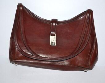 80s vintage burgundy leather shoulder bag purse by Fossil
