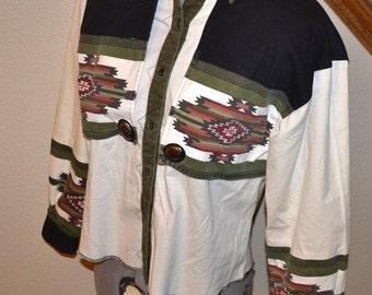 Vintage  Tribal ethnic Native American Southwest Art women boyfriend shirt jacket robe size S by Adobe Rose  women blouse 80s colorful shirt