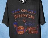 Rhinestone NFL T-Shirt, Women's Rhinestone shirt, Bronco Rhinestone Shirt, Rhinestone Football Shirt, Your team rhinestone shirt