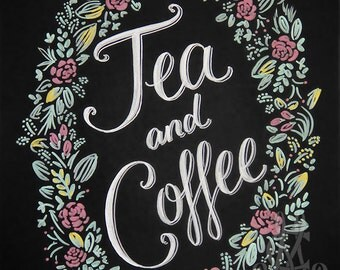 Tea and Coffee printable, chalkboard style drawing, instant digital download