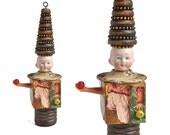 Juggling Clown,  mixed media assemblage art doll, original altered art doll head ornamentornament by Elizabeth Rosen