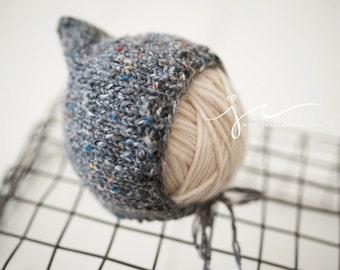 Knit Merino Mixed Tweed Pixie Bonnet Newborn Prop