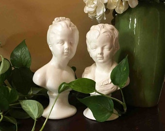 Mid Century Busts - Boy & Girl in White marked Japan