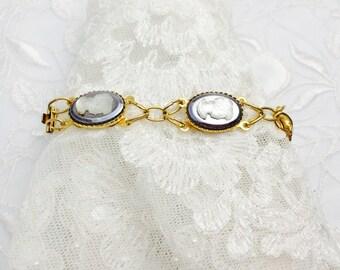 Art Deco Bracelet, Cameo, Gold Tone, Victorian Design, HALF OFF Sale, Item No. B193