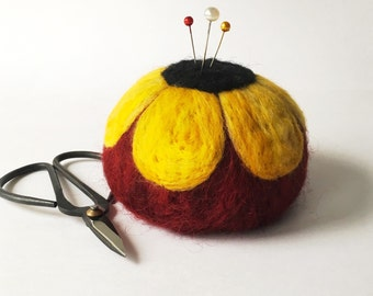 Felted Wool Pin Cushion for quilters and sewers, flower pincushion needle felted ultimate sewing tool