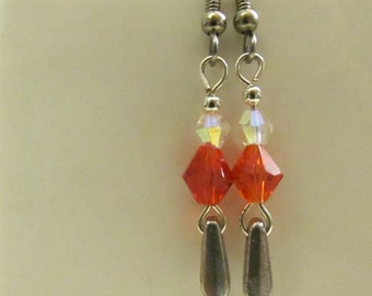 Bright Orange Dangle Earrings