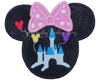 Princess Castle Mouse Head Applique Embroidered Patch, Sew or Iron on