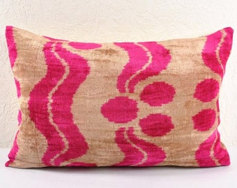 Handmade Velvet Silk Ikat pillow cover Lp113, Bohemian pillow