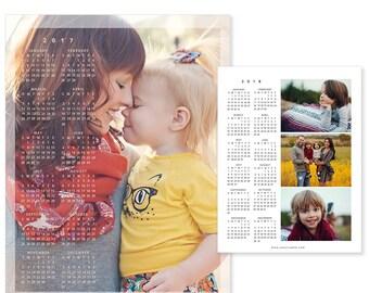 2017 - 2018 Calendar, Photo Calendar Template, Gift Calendar, 8.5x11 Family Wall Calendar, C149b, INSTANT DOWNLOAD