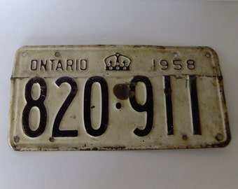 1958 ontario license plate, vintage automoble plate, vintage car license plate, 50s vintage, rustic decor, metal art, retro decor