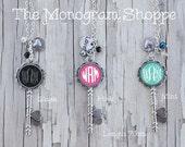 Monogrammed Skeleton Key Necklaces, Mint or Pink