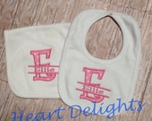 Appliqued Bib and Burp Set Appliqued Monogrammed with Name Baby Boy Baby Girl Infants Gift