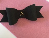 Black hair bow with hand embroidered initial / custom hair bow / wool felt hair accessory