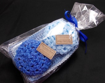 Blue Kitchen Gift Set, Cotton Dishcloths, Handmade Scrubbies, Crochet Dishcloths, Gifts Under 20