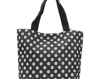 Personalized Tote Bag Black with White Dots - Monogrammed Tote bag - Embroidered Tote Black and White