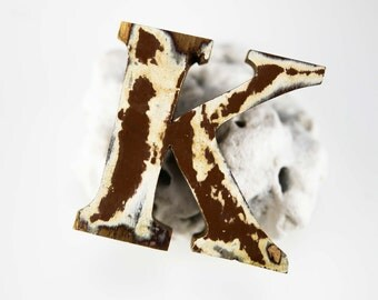 """Beach Decor Wooden LETTER """"K"""" Vintage Style Nautical by SEASTYLE"""