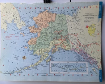 Vintage 1965 Hammond's World Atlas Map Page (Alaska on one side and Arizona on the other side)