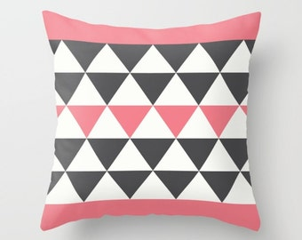 3 colours, Bold Triangles Pillow, Charcoal Black, Sunkist Coral pillow, Faux Down Insert, Geometric pillow, Indoor or Outdoor pillow cover