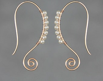 14k rose gold filled Scroll hoop copper wiring pearl hoop Rococo earring handmade US freeshipping Anni Designs