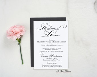 Black and White Rehearsal Dinner Party Invitations, Fancy Rehearsal Dinner Invites, Wedding Rehearsal Invitation in black, Heather