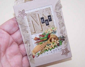 "Handmade VICTORIAN REVIVAL Ornament - ""N"" is for Nest!"