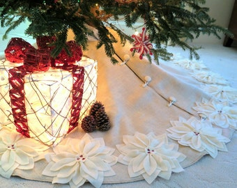 "60"" Christmas Tree Skirt in a Light Natural Burlap with Ivory Hand cut Poinsettas around the Perimeter. ""FREE SHIPPING"""