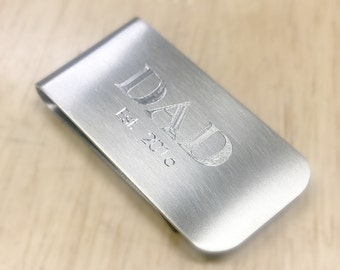 Fathers Day Gift, Custom Money Clip, Personalized Money Clip, Engraved Money Clip, Dad Established 2016, Gift for Him, Gifts for Dad