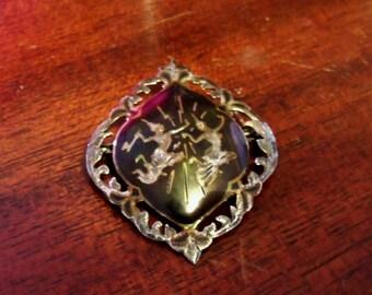 Vintage War memorabilia, NIELLO Sterling Silver Brooch - Made in Siam, collectable gift....