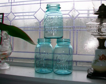3 Blue Ball Jars Quarts Blue Mason Jars Ball Perfect Mason Jars 1923 to 1933