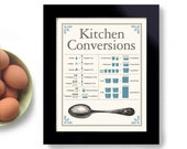 Kitchen Conversion Chart Cooking Gift 11x14 Print Recipe Conversion Measuring Guide Baking Chart Vintage Spoon Cook Foodie Gift Cooking Art