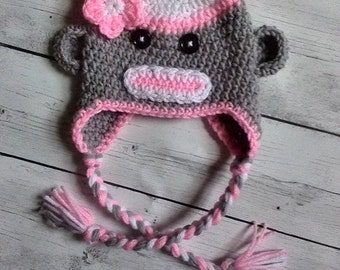 Sock Monkey Hat, Girl Sock Monkey Hat, Baby Sock Monkey - Made to Order