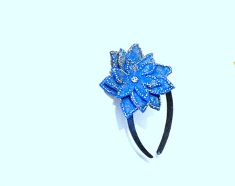 Flower Headband: Girls or Womens Accessory, Blue Flower Headband with Silver Beads and Silver Paint