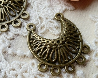26 x 30 mm Antique Bronze (one-sided) Charm Pendants / Connectors (.sn).