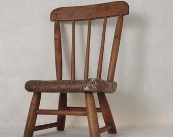1800's Wooden Child's Chair // Wooden Kid's Chair // Primitive // Rustic