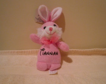 Tiannah bunny, CLEARANCE SALE , Plush pink bunny, soft baby toy, plush bunny with Tianah on it, baby shower gift, gift for her
