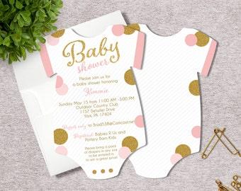 Glitter Baby Girl Baby Shower Invitation - Bodysuit - Set of 25 Die Cut Baby Girl Shower Invitations - Pink & Gold Glitter