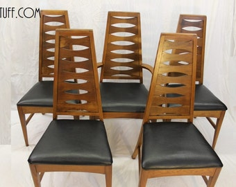 Mid Century Modern, danish, vintage dining chairs set of 5