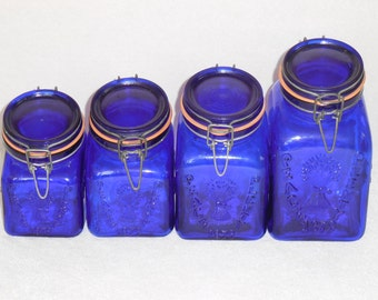 Cobalt Crownford Square Italian Glass Canisters, Granny's Products Inc.
