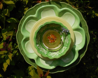 Garden Art Flower Ensemble with Plates, Glass, Ceramic, Jewels, and other Treasures