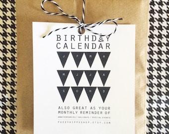 Birthday Calendar - Black & White Birthday Calendar - Perpetual Calendar - Modern Birthday Calendar