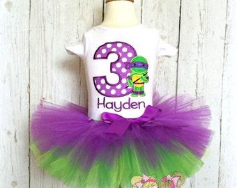 Purple turtle ninja birthday outfit for girls - purple turtle themed birthday - ninja themed birthday - purple and green tutu- 1st birthday