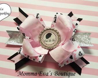 Momma Eva's -- NEW / Ooh La La Boutique Mutli Layered Sparkling Boutique Hair Bow // 3.5 inch Design // French Theme / Paris Party